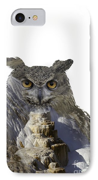 Great Horned Owl And Mammoth Hot Springs IPhone Case