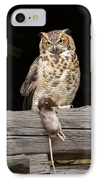 Great Horned Owl With Dinner IPhone Case