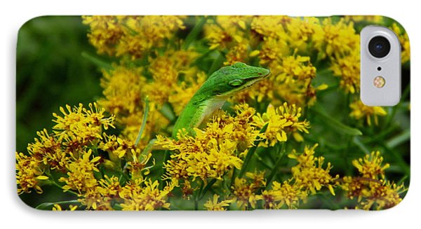 Green Anole Hiding In Golden Rod IPhone Case