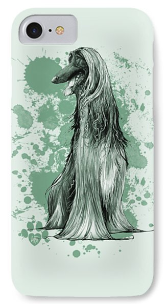 Green Paint Splatter Afghan Hound IPhone Case