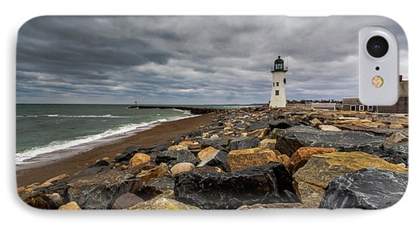Grey Day At Scituate Lighthouse IPhone Case