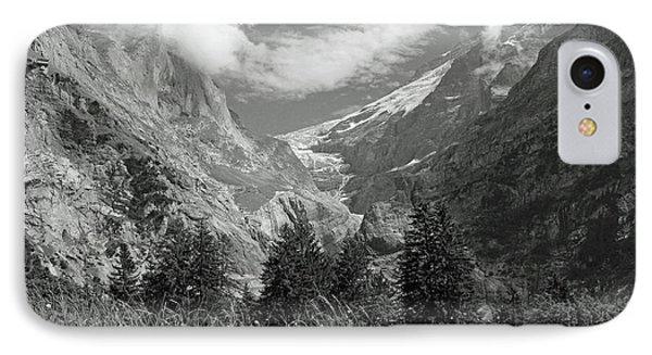 Grindelwald Glacier In Switzerland In Black And White IPhone Case