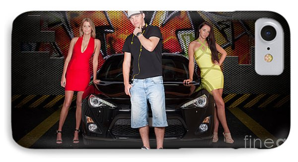 Group Of Young People Beside Black Modern Car IPhone Case