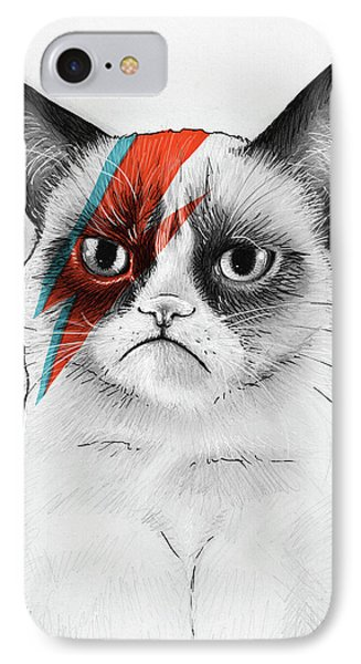 Portraits iPhone 8 Case - Grumpy Cat As David Bowie by Olga Shvartsur