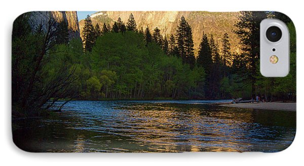 Half Dome And The Merced River With The Moon IPhone Case