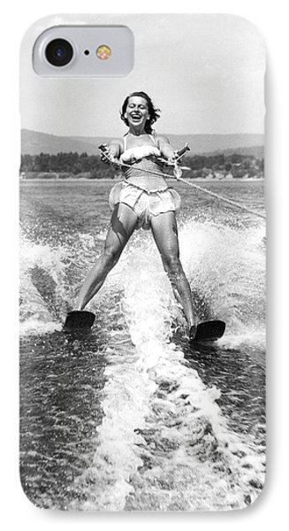 Happy Woman Water Skier IPhone Case