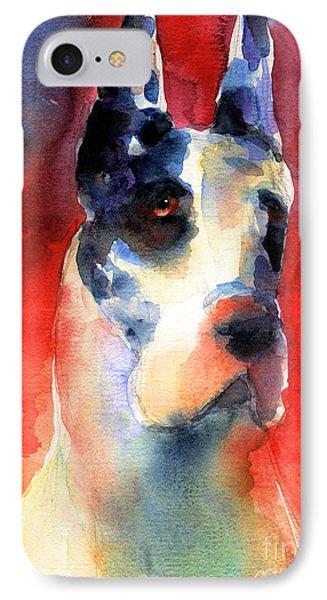 Harlequin Great Dane Watercolor Painting IPhone Case