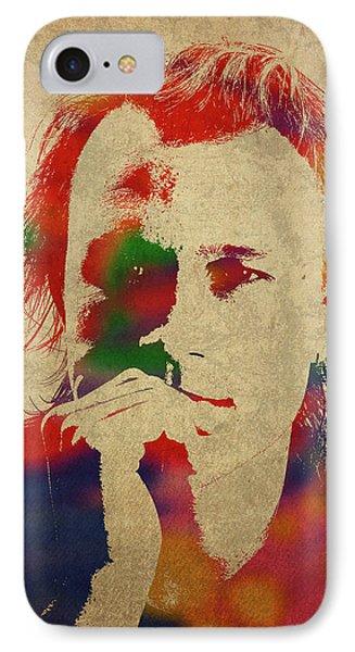 Heath Ledger Watercolor Portrait IPhone Case