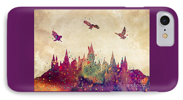 Wizard iPhone 8 Case - Hogwarts Castle Watercolor Art Print by Svetla Tancheva