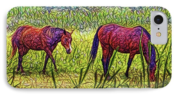 Horses In Tranquil Field IPhone Case