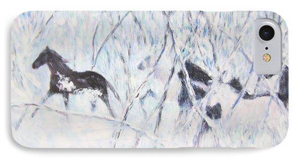 Horses Running In Ice And Snow IPhone Case