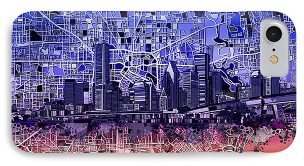 Houston Skyline Map 12 IPhone Case