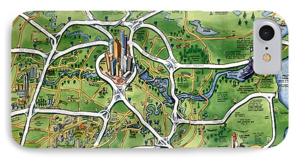 Houston Texas Cartoon Map IPhone Case