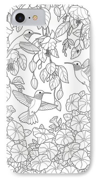 Hummingbirds And Flowers Coloring Page IPhone Case