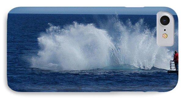 Humpback Whale Breaching Close To Boat 23 Image 3 Of 4 IPhone Case
