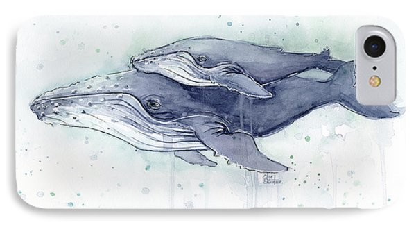 Whimsical iPhone 8 Case - Humpback Whales Painting Watercolor - Grayish Version by Olga Shvartsur