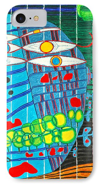 Hundertwasser Blue Moon Atlantis Escape To Outer Space In 3d By J.j.b IPhone Case