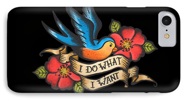 I Do What I Want Vintage Bluebird And Rose Tattoo IPhone Case