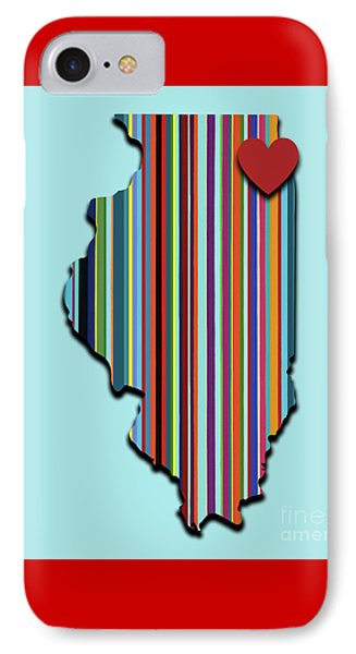 IPhone Case featuring the mixed media Illinois With Love Geometric Map by Carla Bank