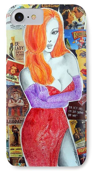 I'm Just Drawn That Way --v.2 -- Jessica Rabbit Portrait IPhone Case