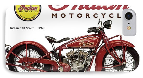 Indian 101 Scout, 1928, Motorcycle Sign, Vintage, Original Art IPhone Case