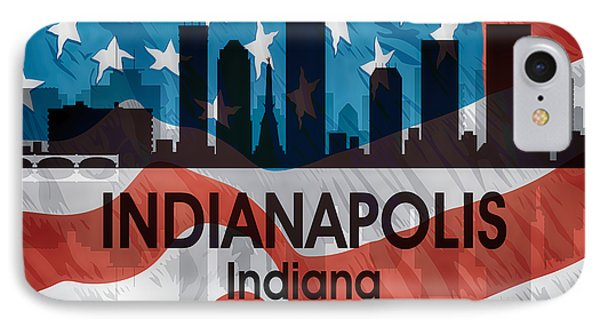 Indianapolis In American Flag Squared IPhone Case