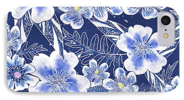 Indigo Batik Camellia Fern - 12 IPhone Case