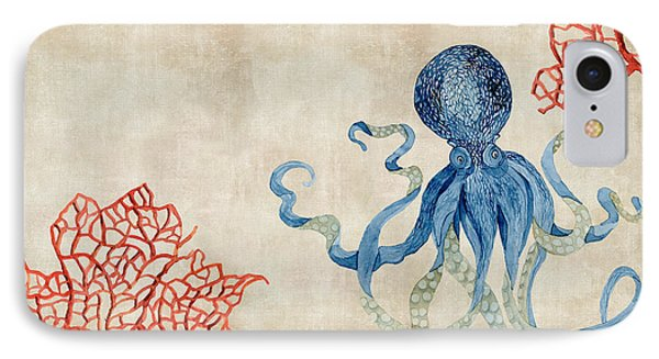 Indigo Ocean - Octopus Floating Amid Red Fan Coral IPhone Case