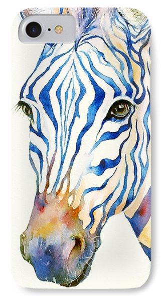 Intense Blue Zebra IPhone Case