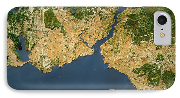 Istanbul City Topographic Map Natural Color IPhone Case