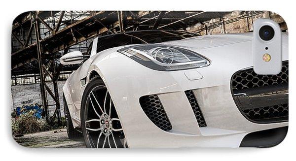 Jaguar F-type - White - Front Close-up IPhone Case