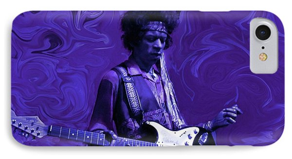 Rock And Roll iPhone 8 Case - Jimi Hendrix Purple Haze by David Dehner
