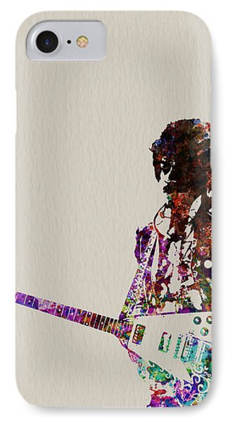 Rock And Roll iPhone 8 Case - Jimmy Hendrix With Guitar by Naxart Studio