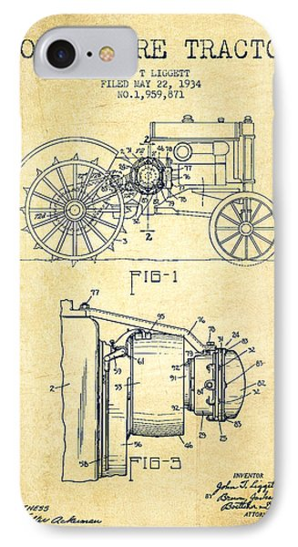 John Deere Tractor Patent Drawing From 1934 - Vintage IPhone Case