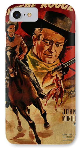 John Wayne Red River French Version Vintage Classic Western Movie Poster IPhone Case