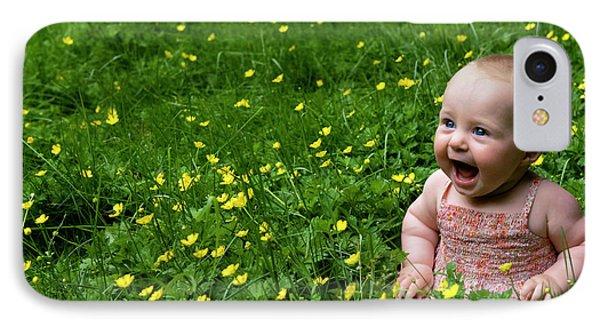 Joyful Baby In Flowers IPhone Case