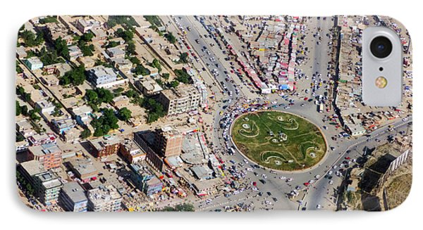 Kabul Traffic Circle Aerial Photo IPhone Case