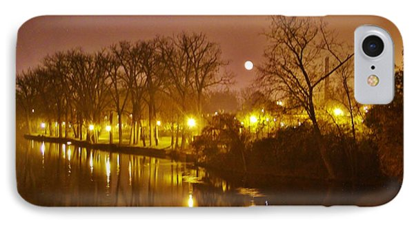 Kamm Island By Lamp Post Lights With Moonrise    Autumn      Indiana    IPhone Case