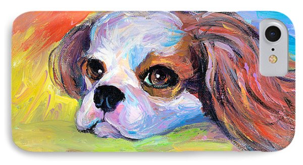 King Charles Cavalier Spaniel Dog Painting IPhone Case