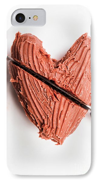 Knife Cutting Heart Shape Chocolate On Plate IPhone Case