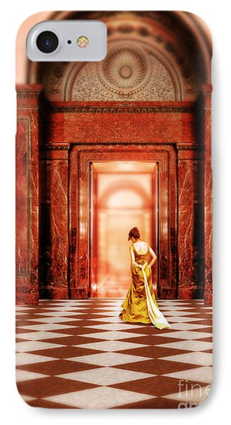 Lady In Golden Gown Walking Through Doorway IPhone Case
