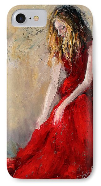 Lady In Red 2 IPhone Case