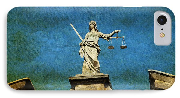 Lady Justice. Streets Of Dublin. Painting Collection IPhone Case