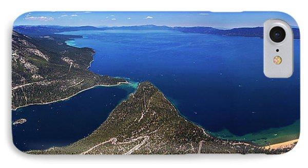 Lake Tahoe Aerial Panorama - Emerald Bay Aerial IPhone Case