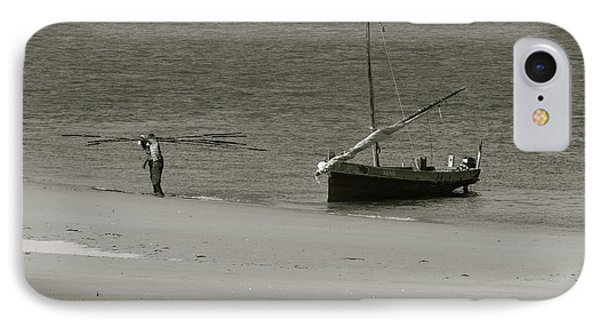 Lamu Island - Wooden Fishing Dhow Getting Unloaded - Black And White IPhone Case