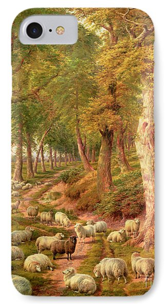 Rural Scenes iPhone 8 Case - Landscape With Sheep by Charles Joseph