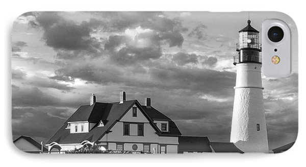 Late Afternoon Clouds, Portland Head Light  -98461-sq IPhone Case