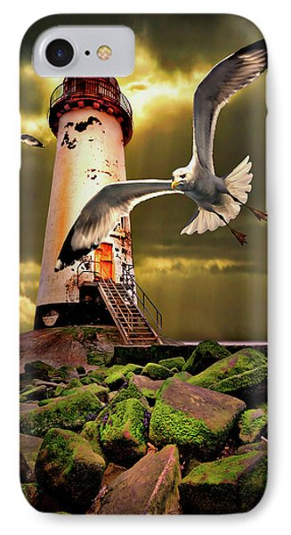 Lighthouse With Seagulls IPhone Case