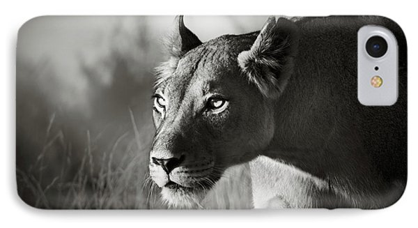 White iPhone 8 Case - Lioness Stalking by Johan Swanepoel