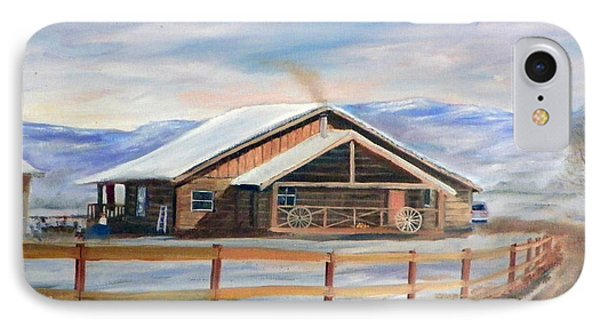 Log Cabin House In Winter IPhone Case